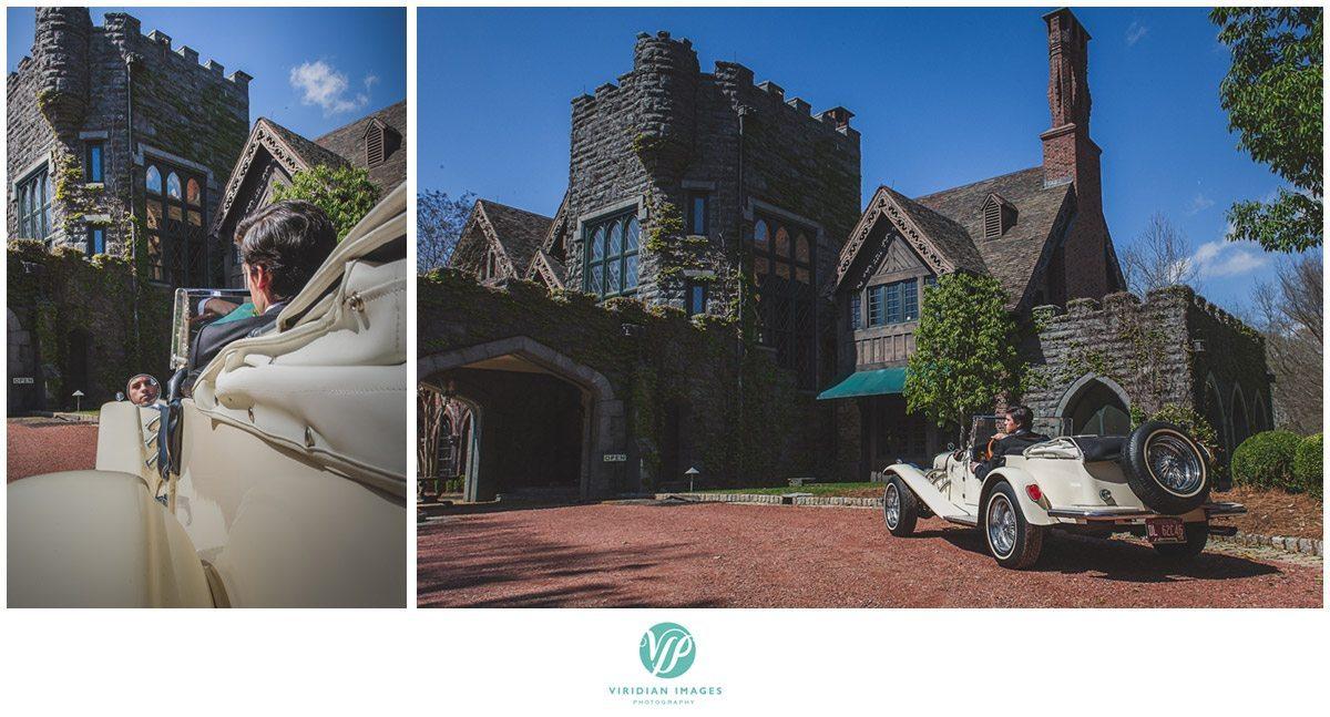 Bisham Manor Wedding 1920 Mercedes in driveway Photo