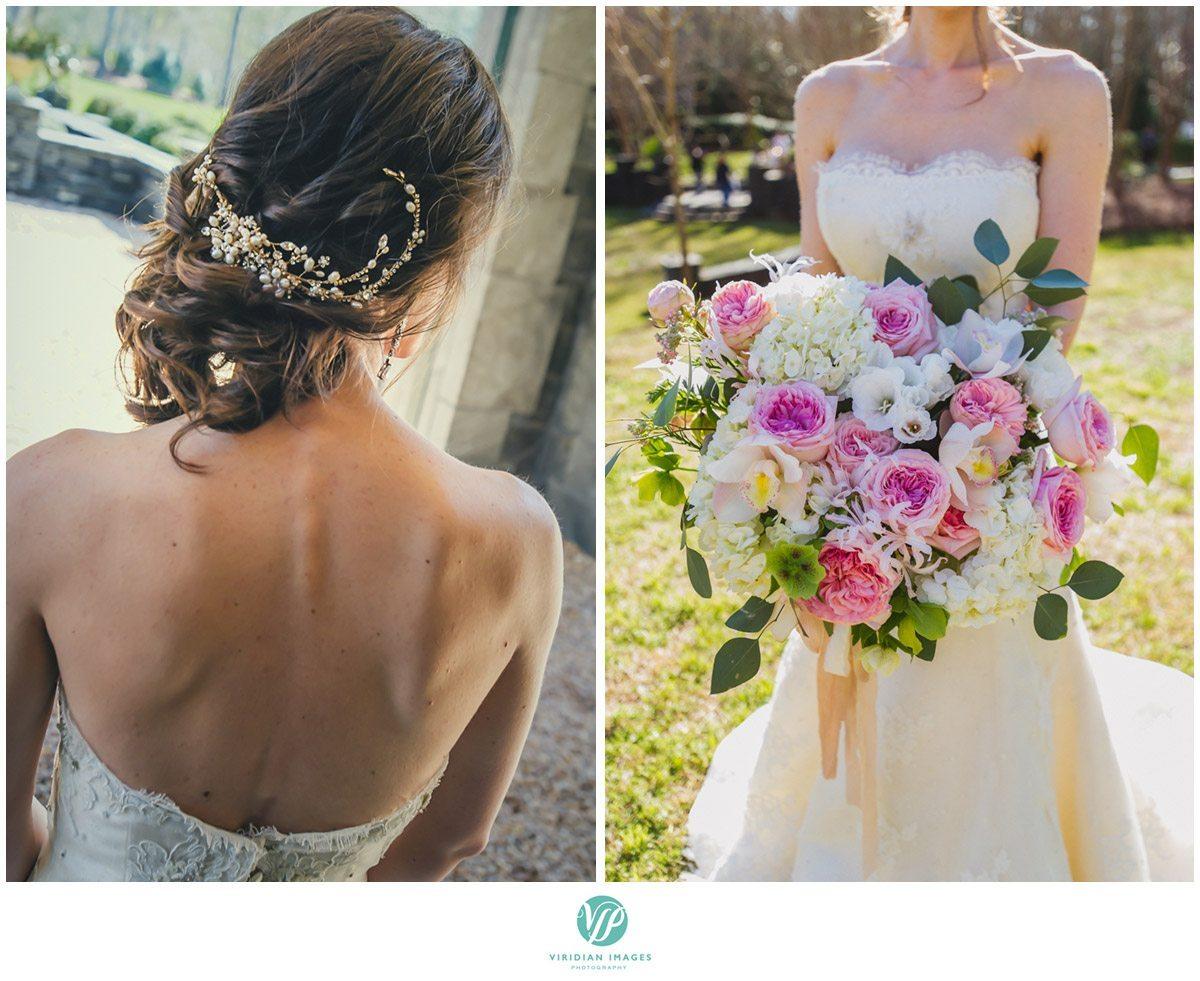 Bisham Manor Wedding bridal hair bouquet photo