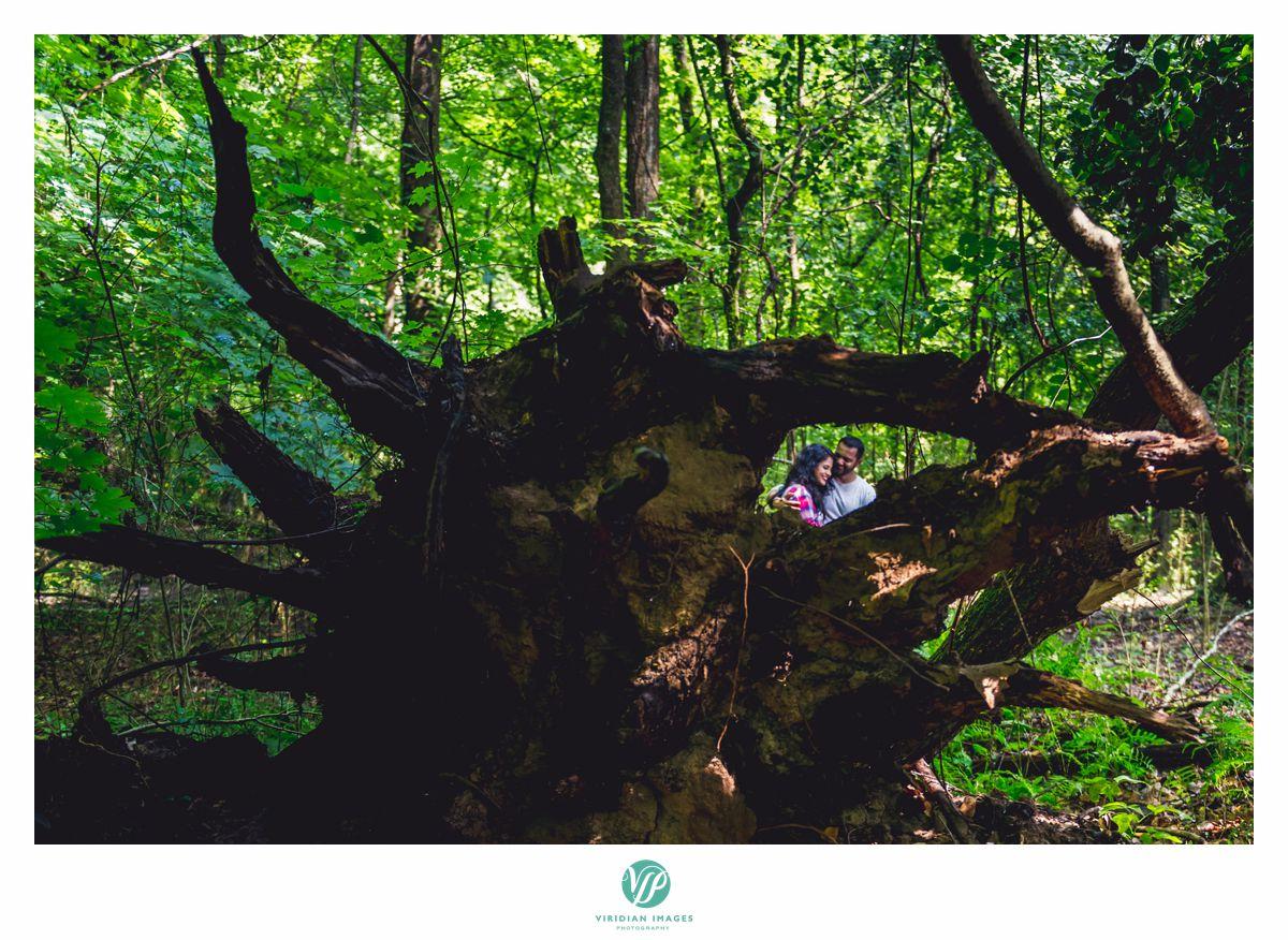 Chattahoochee Atlanta camping through trees engagement