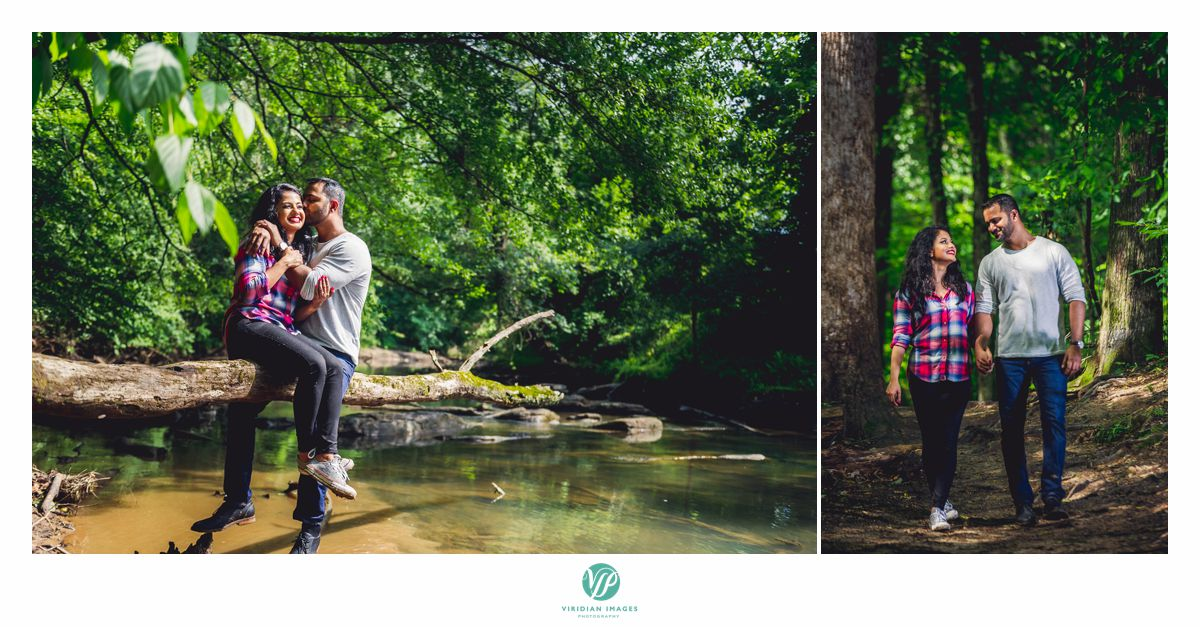 Chattahoochee Atlanta camping theme engagement over the river