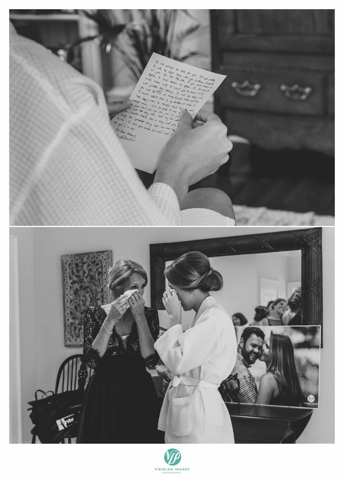 emotional bride with mom
