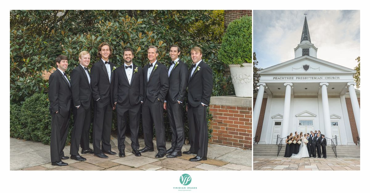 Groom with groomsmen and bridal party