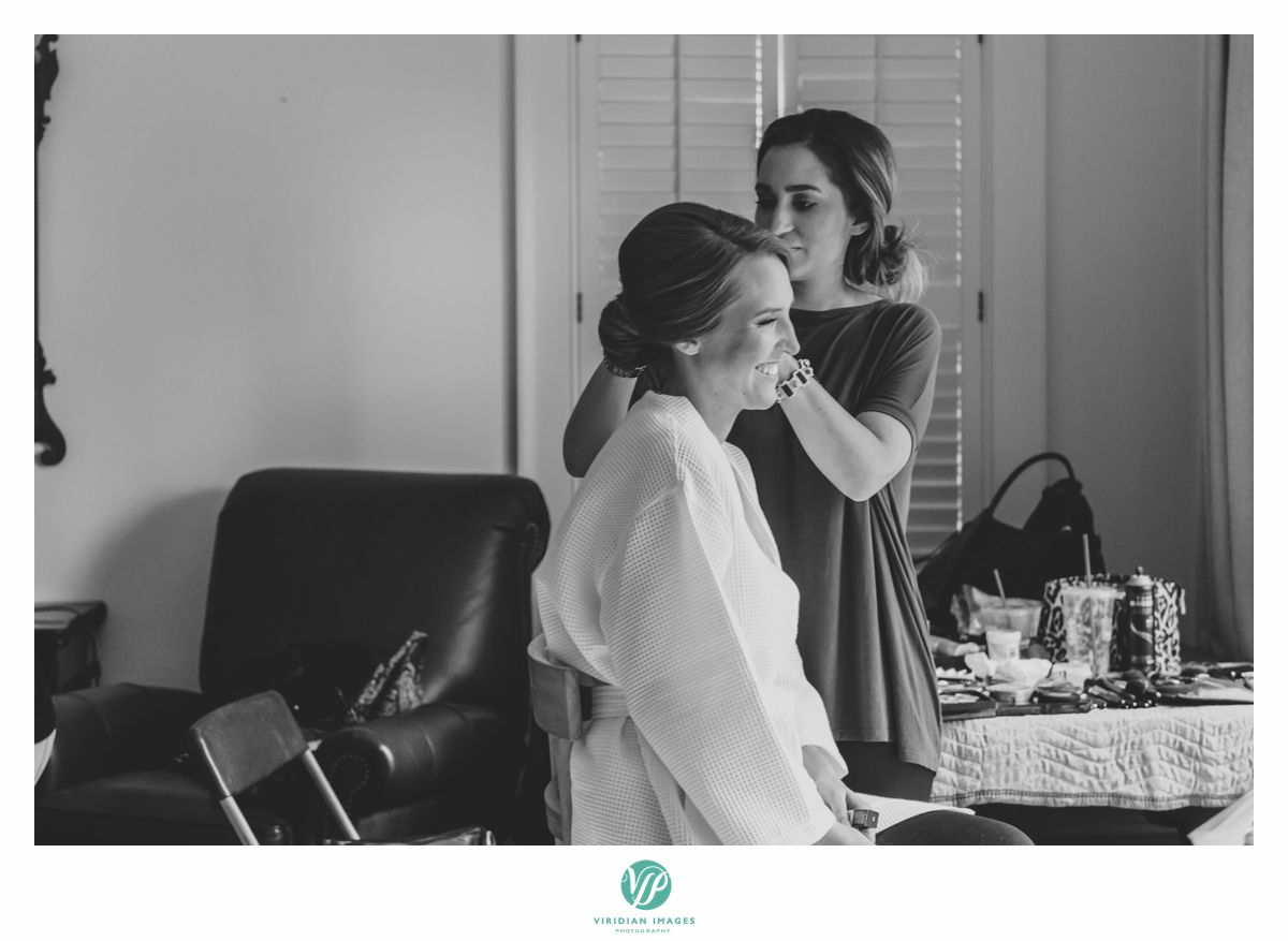 Last minute hair prep for this bride