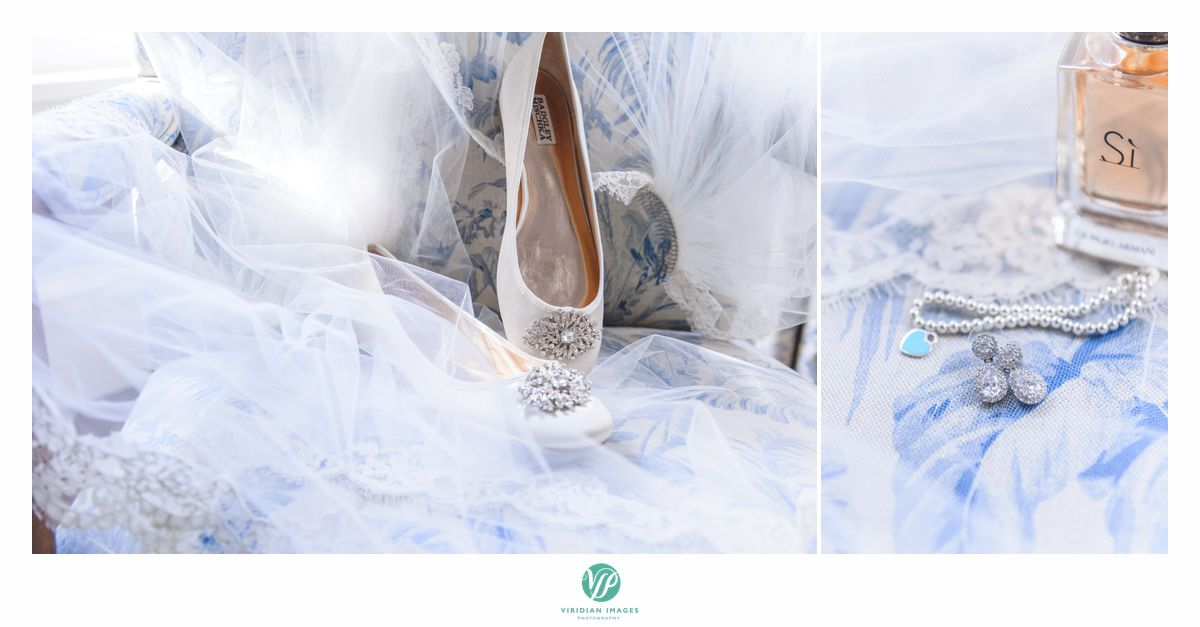 Wedding day accessories, shoes, jewelry, perfume