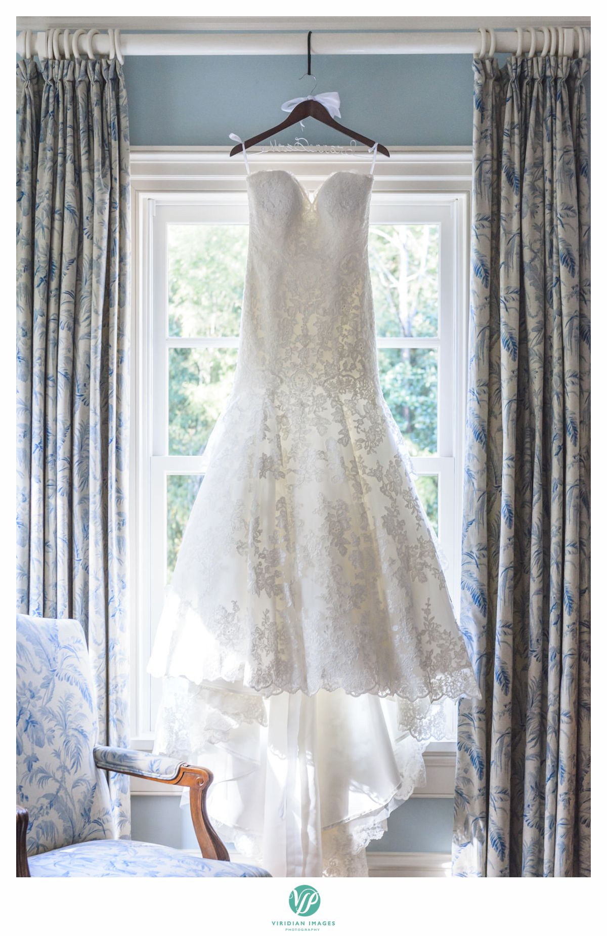 wedding dress in bridal room