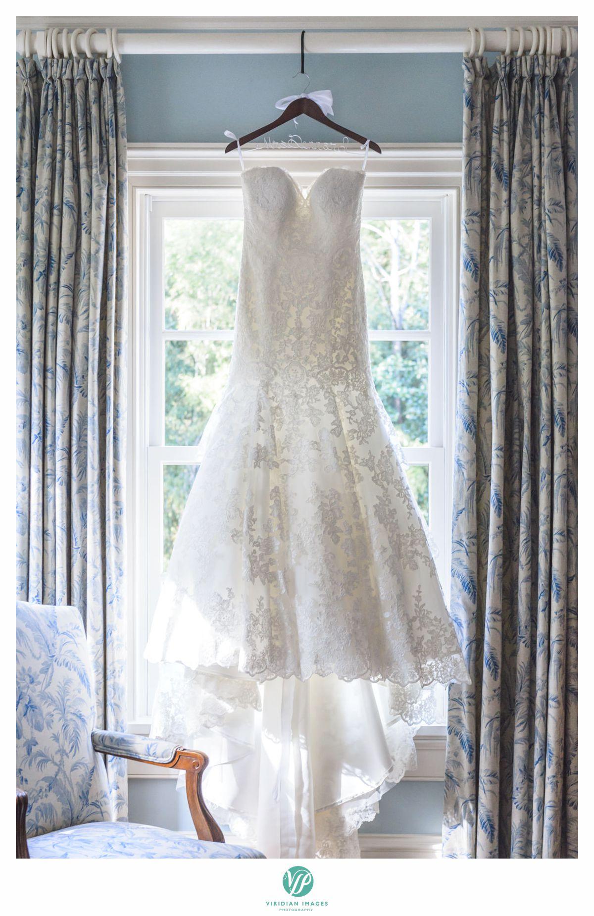 wedding dress in bridal room