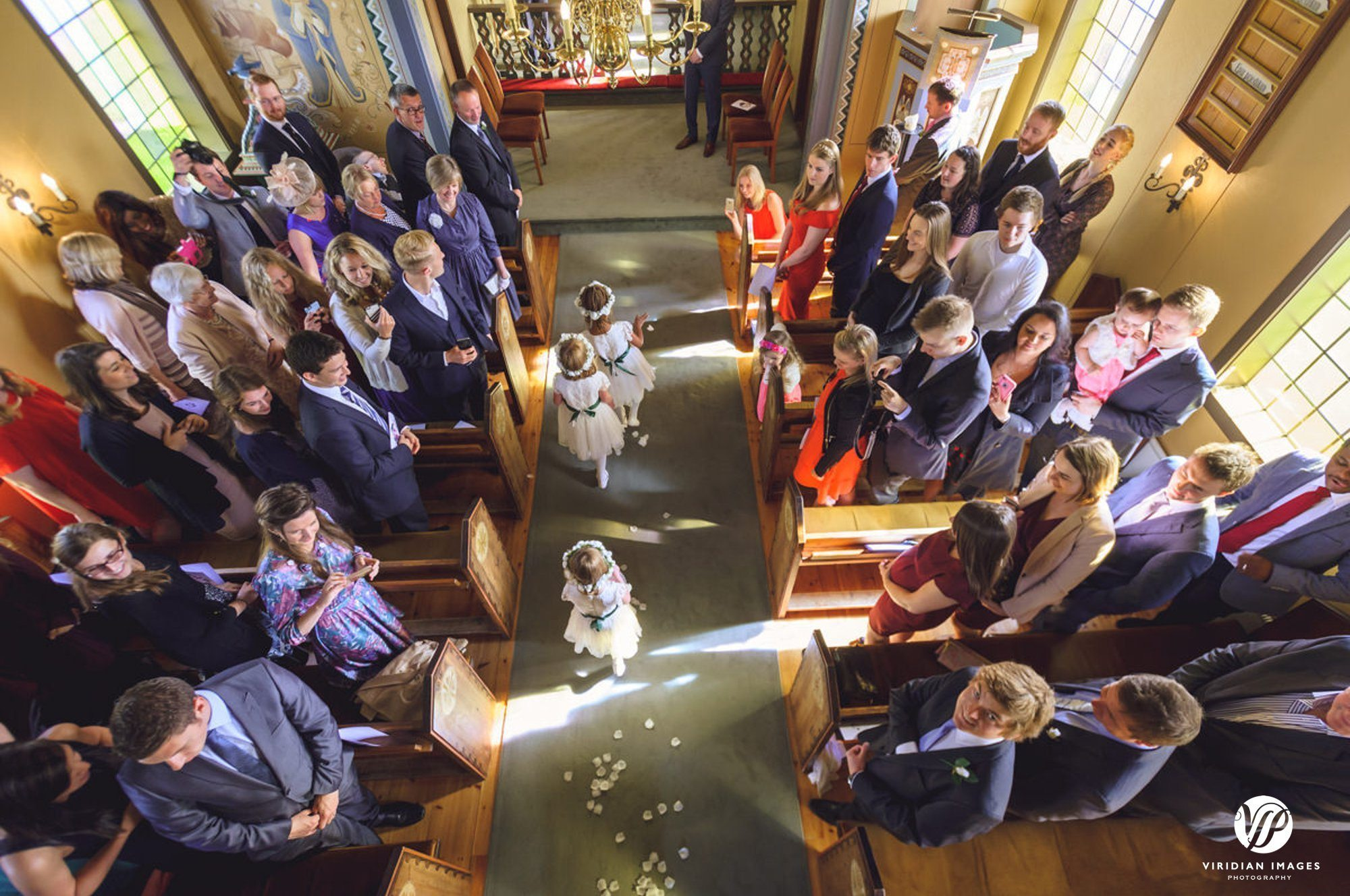 Wedding processional in Oddakirkja church in Iceland