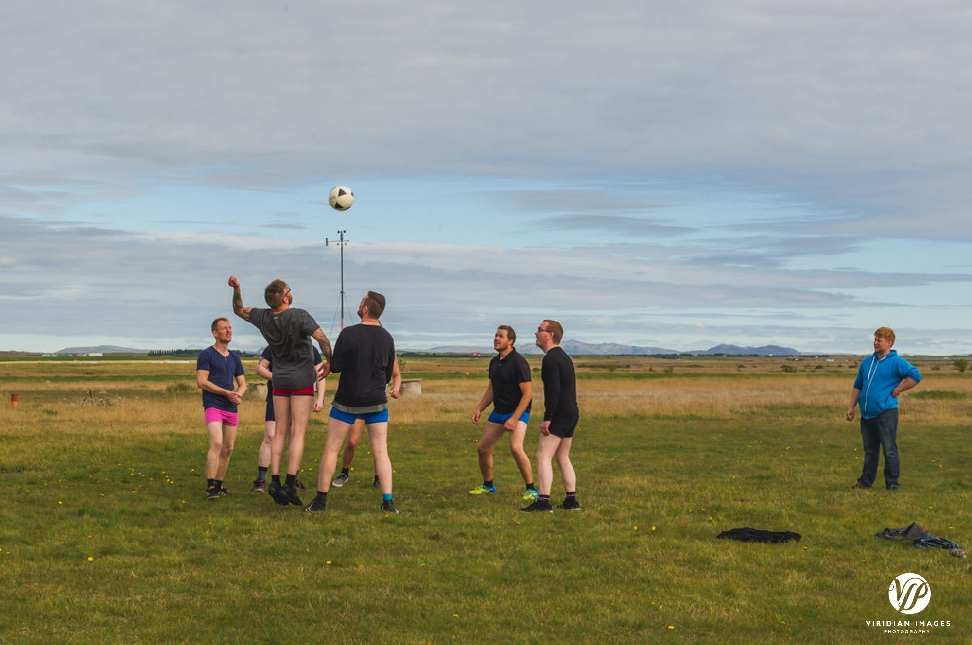 Icelandic men playing football in underwear