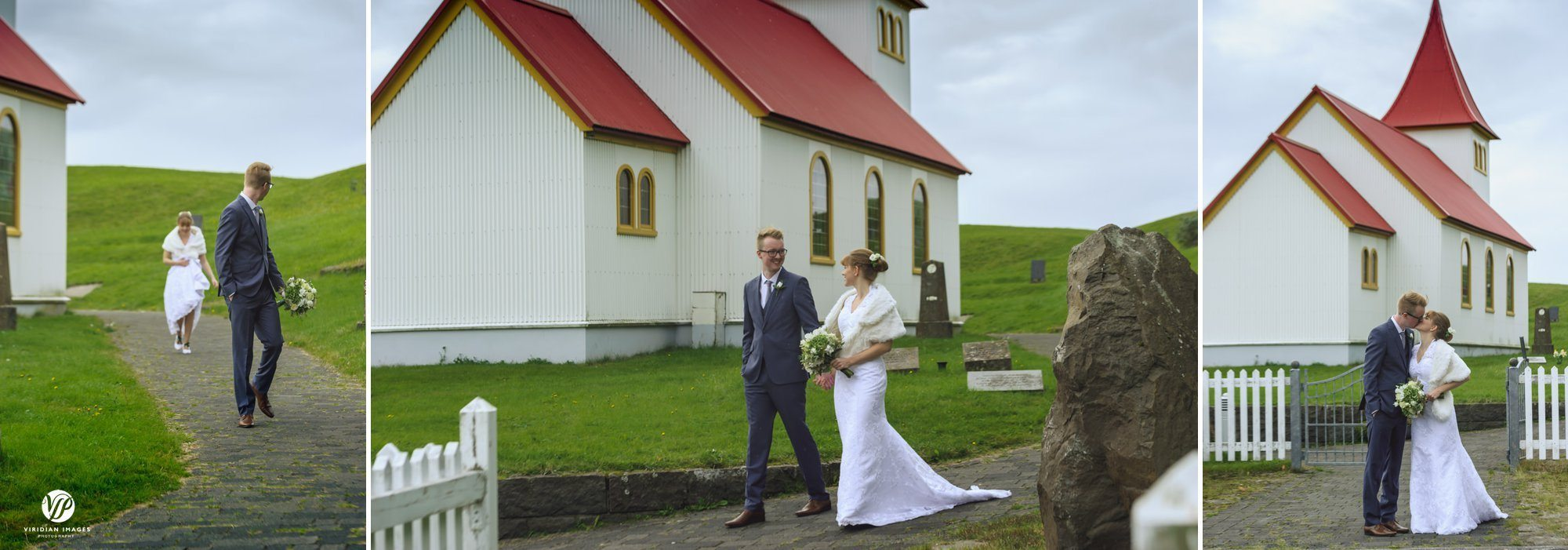playful moment with couple walking near Oddikirkja church in Hella Iceland