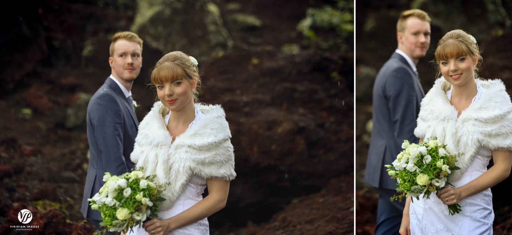 Bride and groom rain portrait in Heiðmörk Iceland