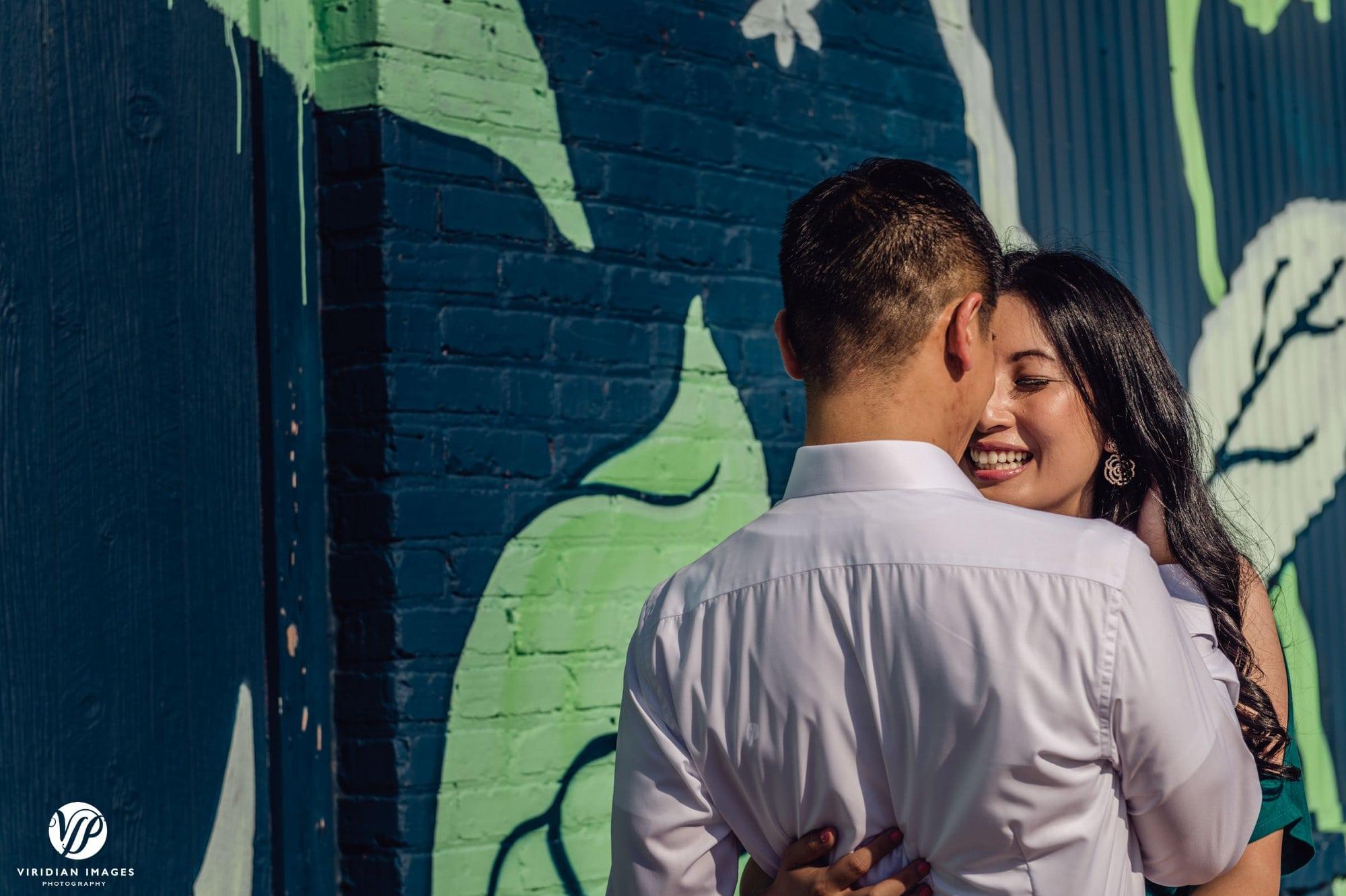 romantic kiss outside hug
