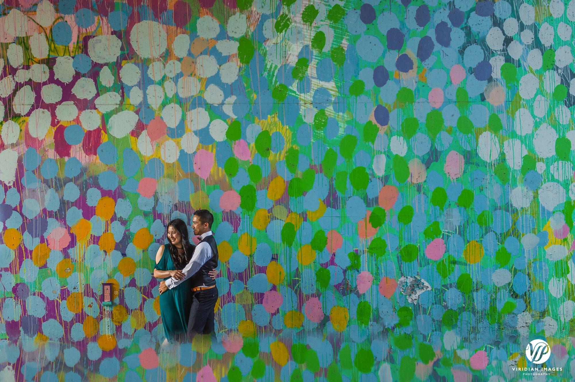 creative mirror reflection couple bubble art mural beltline