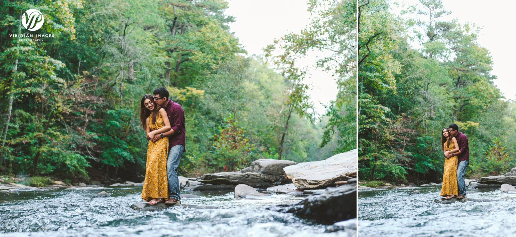 couple snuggle middle of chattahoochee river