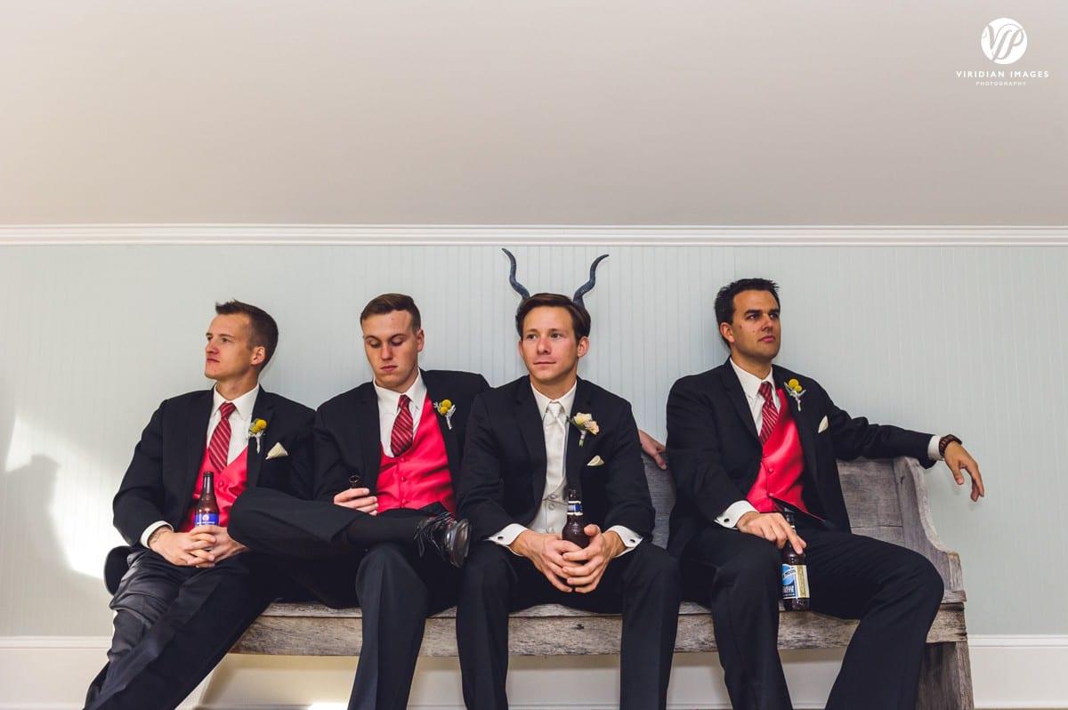 Funny portrait of groom with groomsmen Walnut Hill Farm