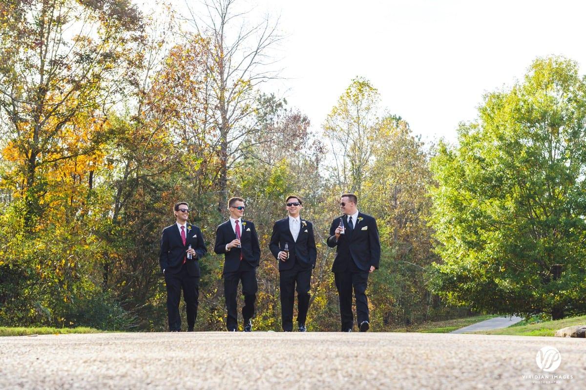 Groom with groomsmen walking Walnut Hill Farm
