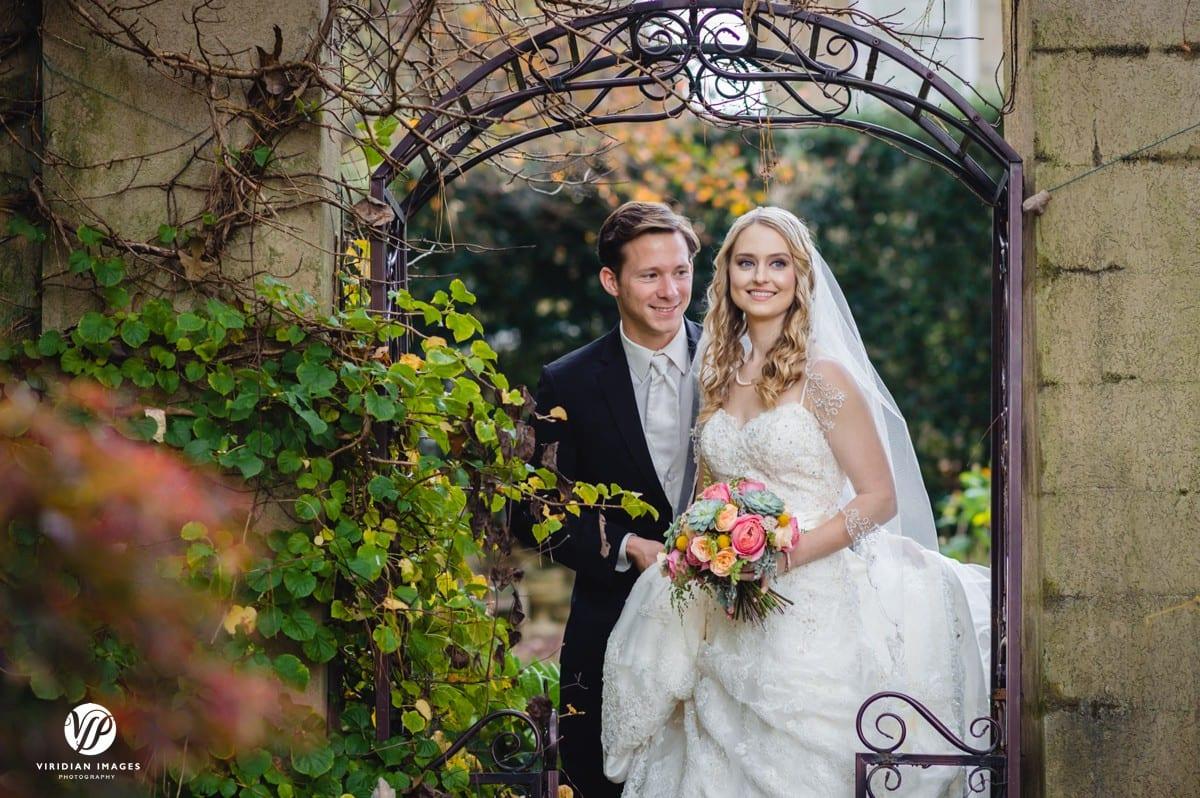 Bridal portrait gate Walnut Hill Farm Dalton GA