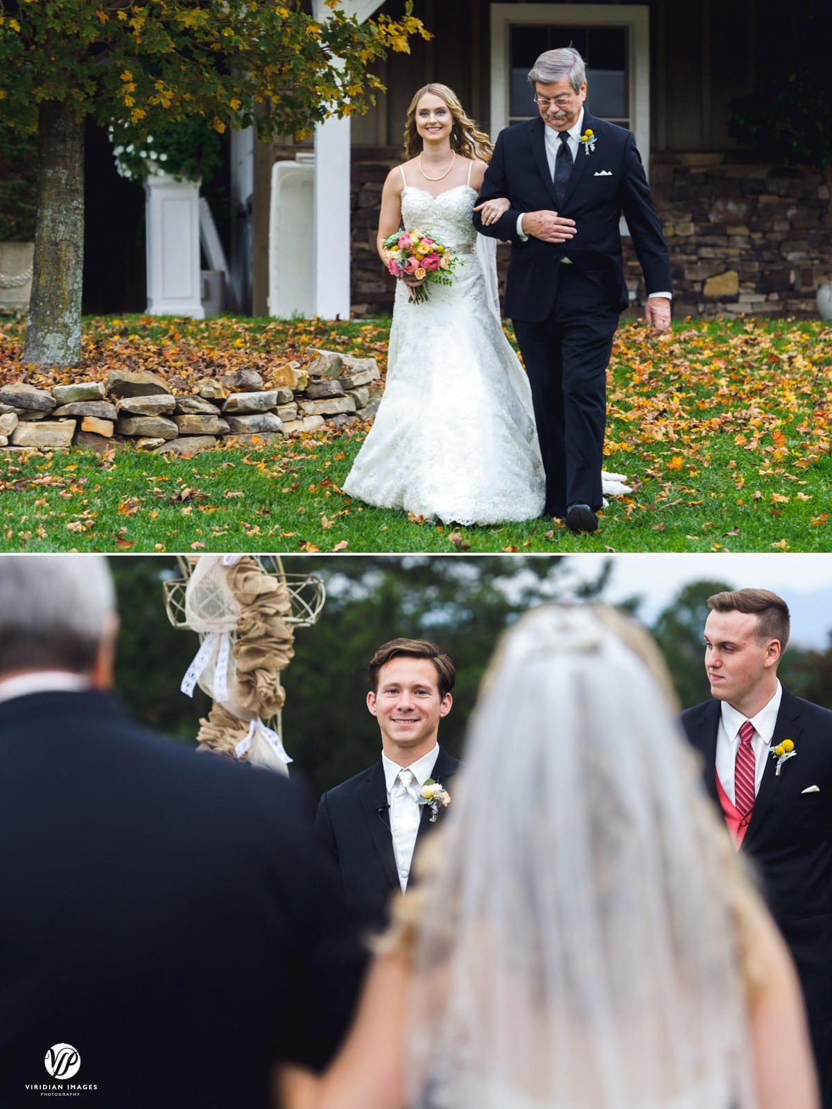 Bride and father walking down aisle Walnut Hill Farm Dalton GA