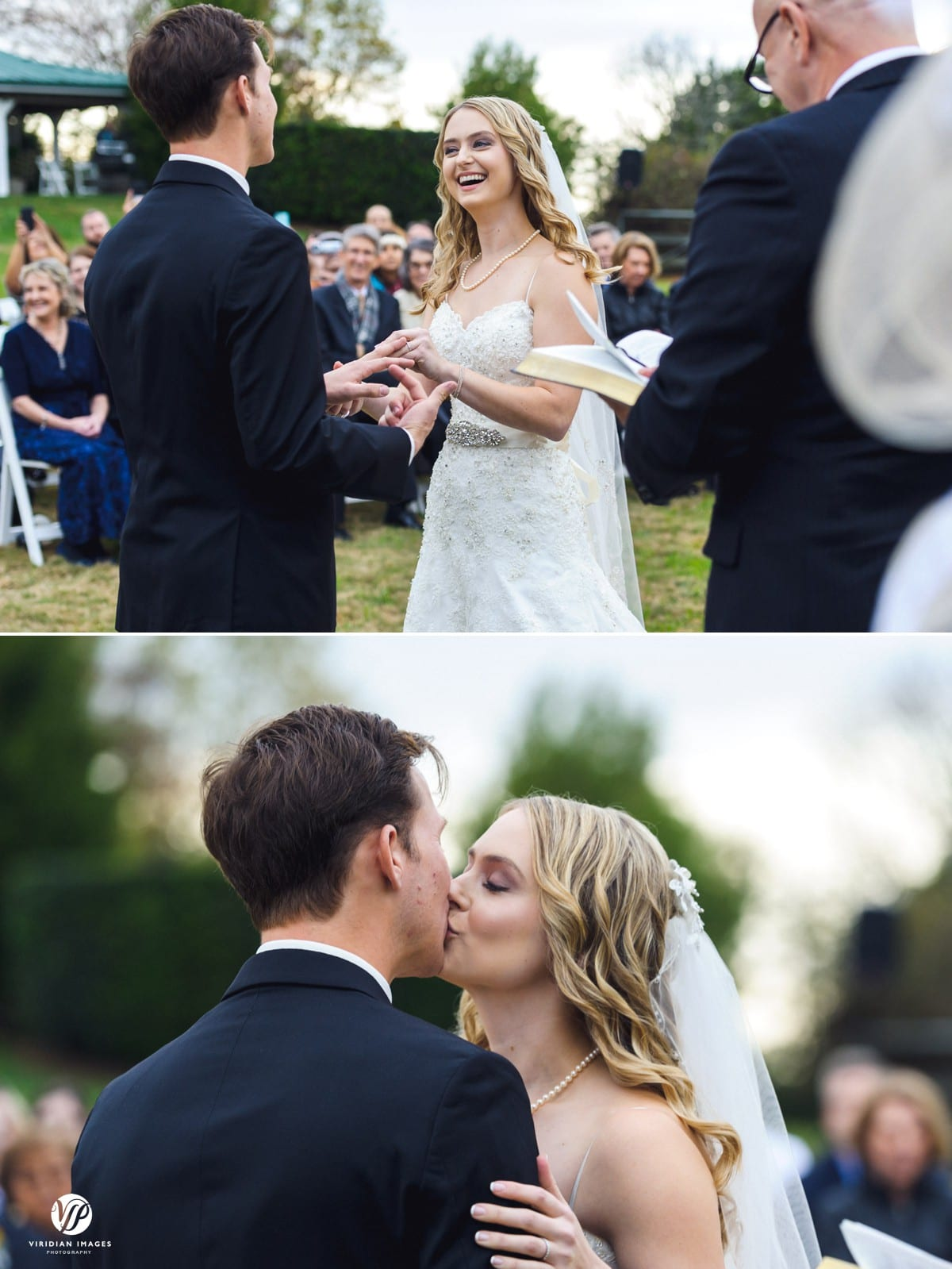 wedding ring and first kiss ceremony Walnut Hill Farm Dalton GA