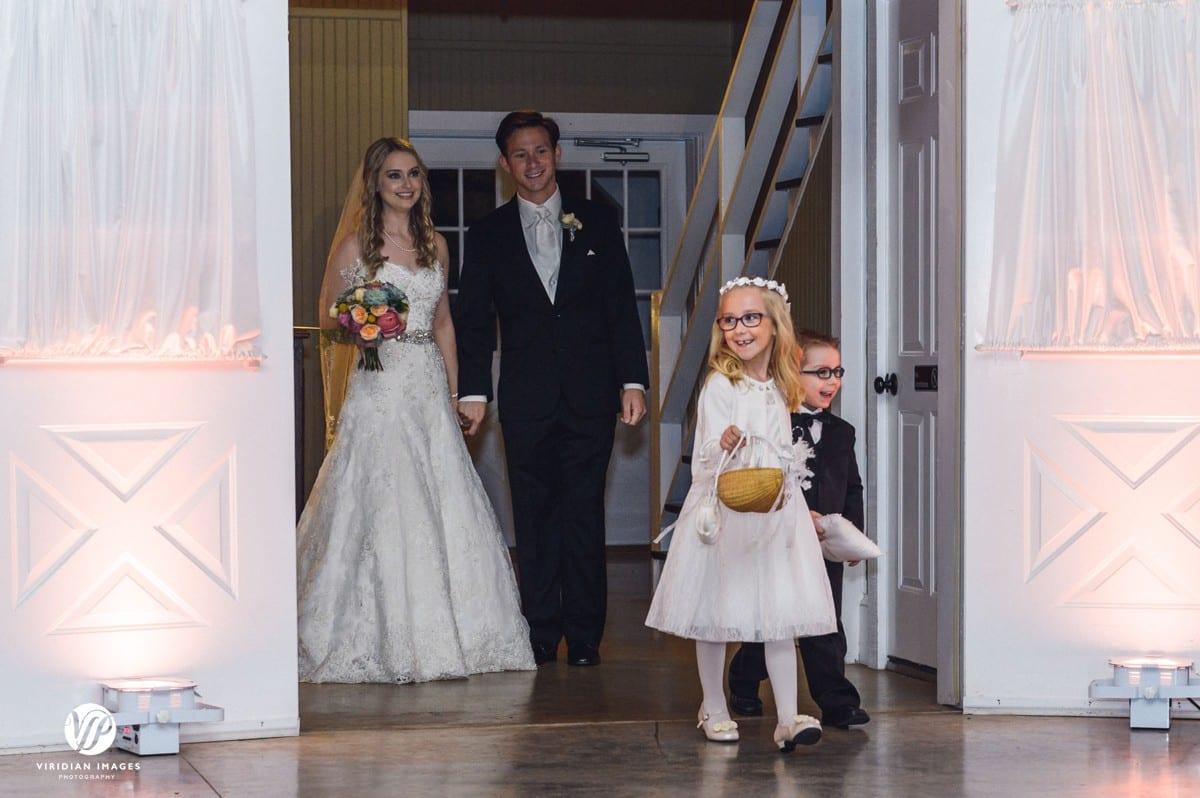 reception entrance with flower girl ring bearer walnut hill farm dalton ga
