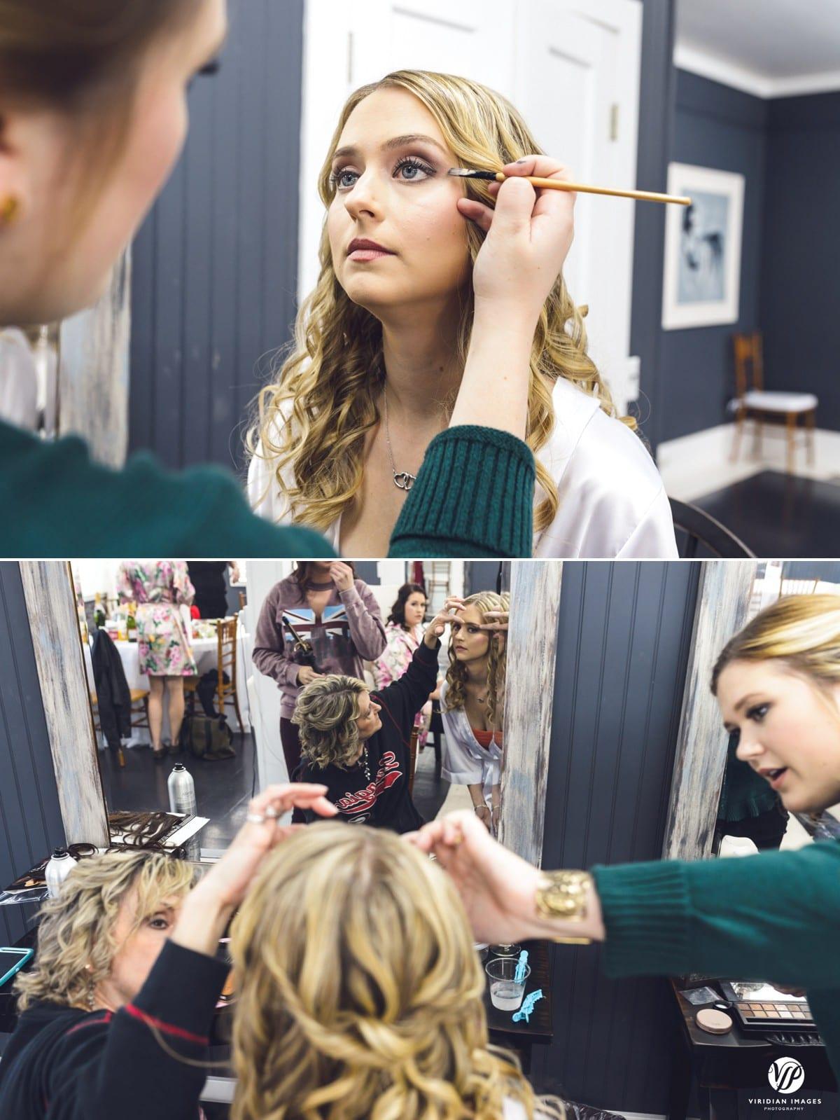 Bride Getting Makeup Walnut Hill Farm