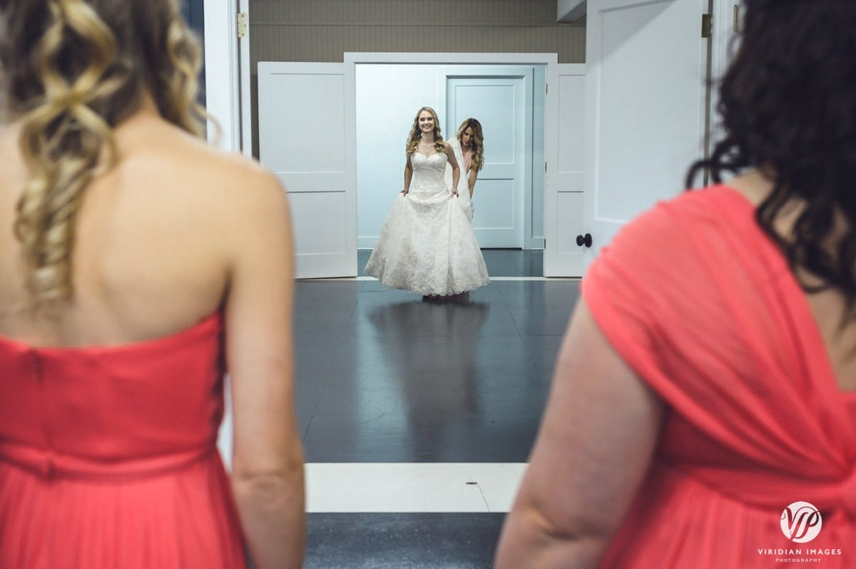 Bride first look with bridesmaids Walnut Hill Farm