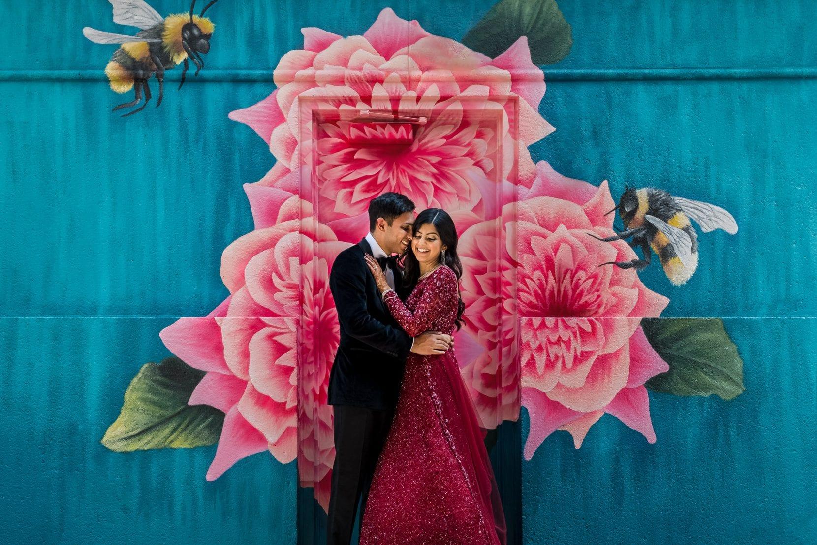 wedding portrait mural flowers