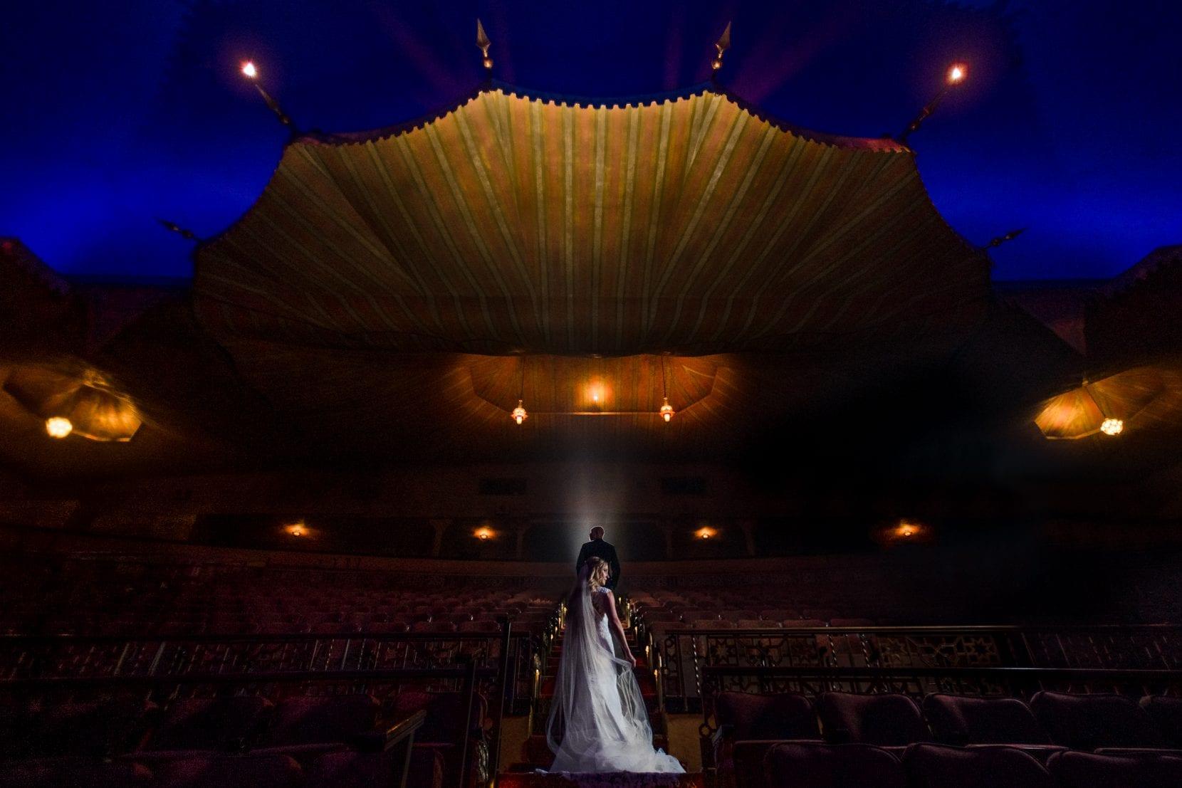 creative wedding portrait inside fox theatre