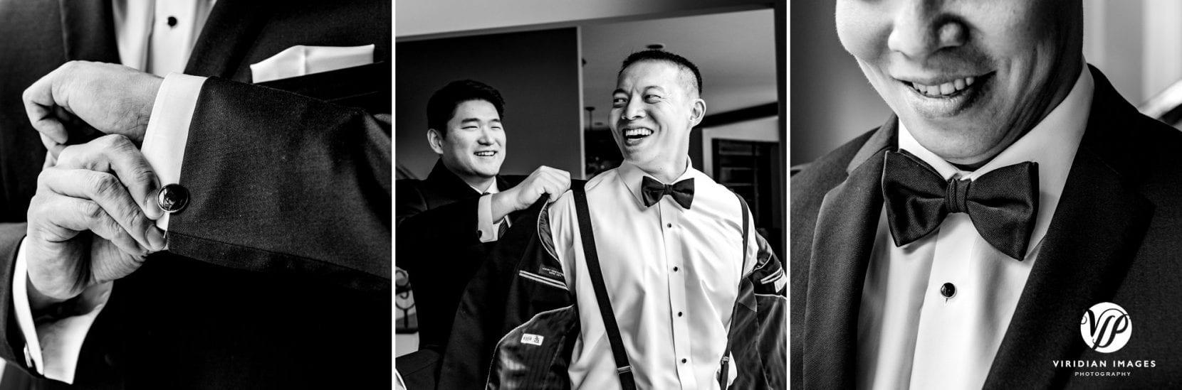 groom and groomsmen jacket on