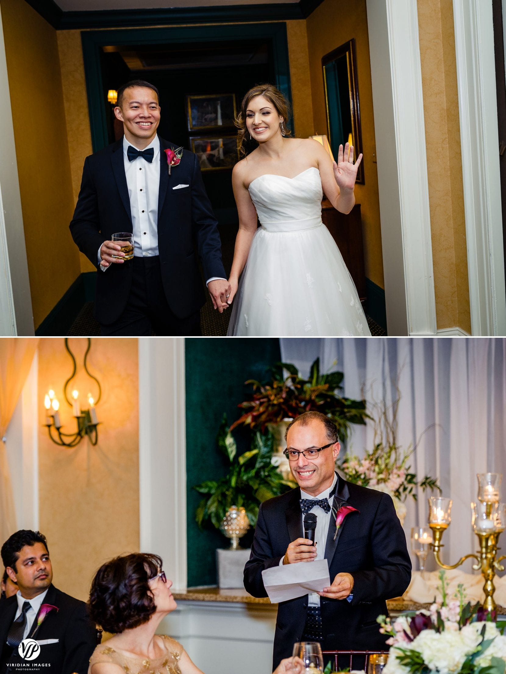 couple enter reception father toast