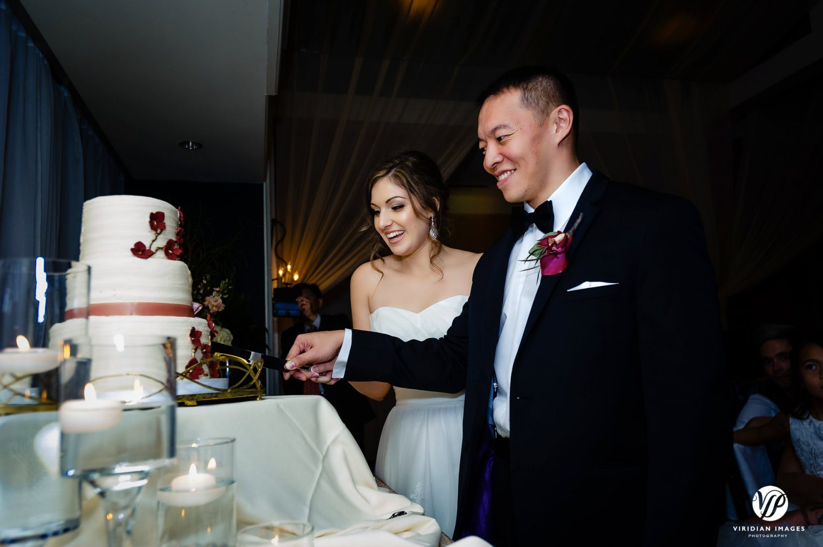 cutting cake during reception