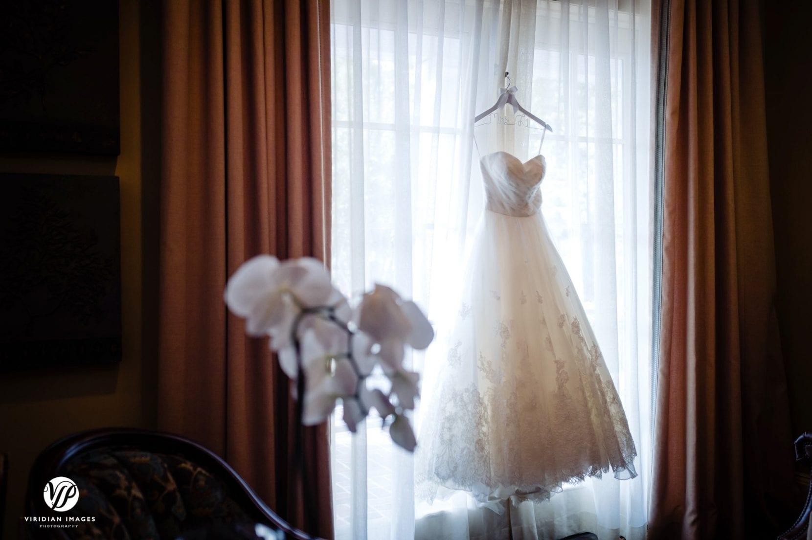wedding gown hanging window