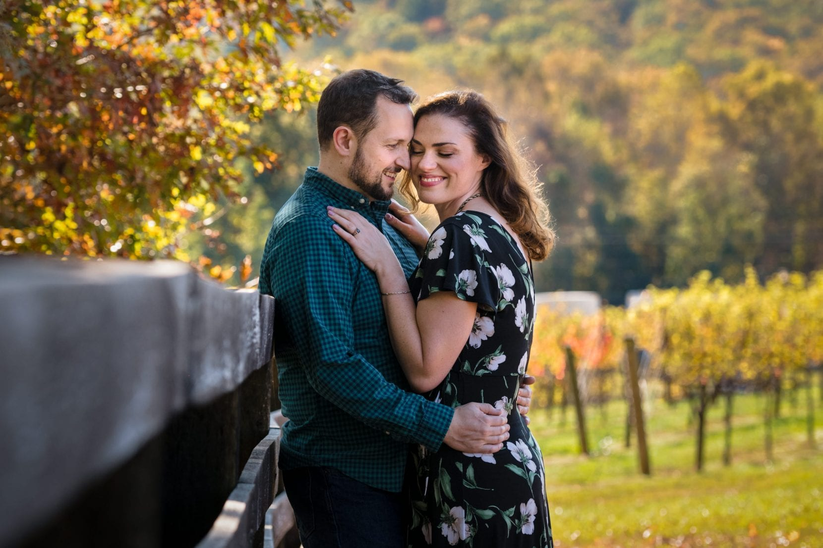 fall engagement photo embrace