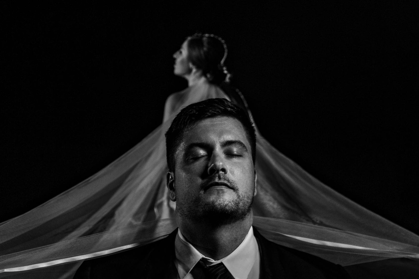creative wedding portrait bw ccs