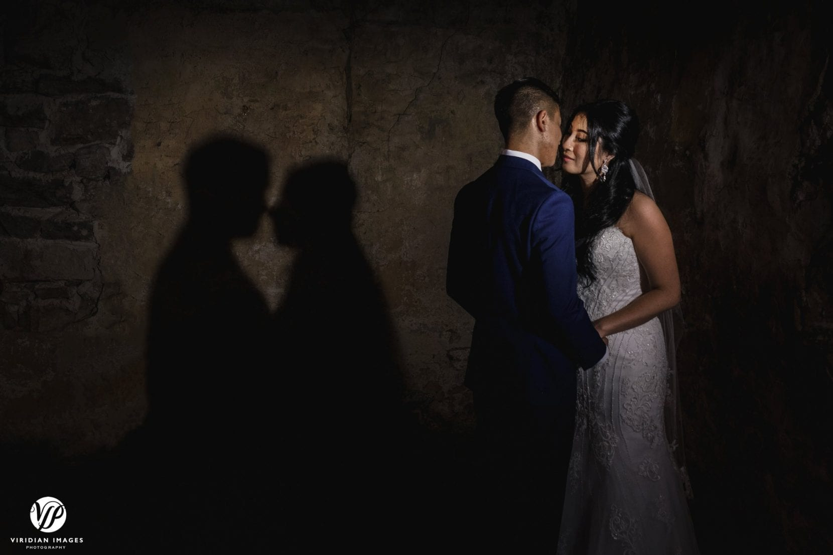 bride and groom and shadow portrait