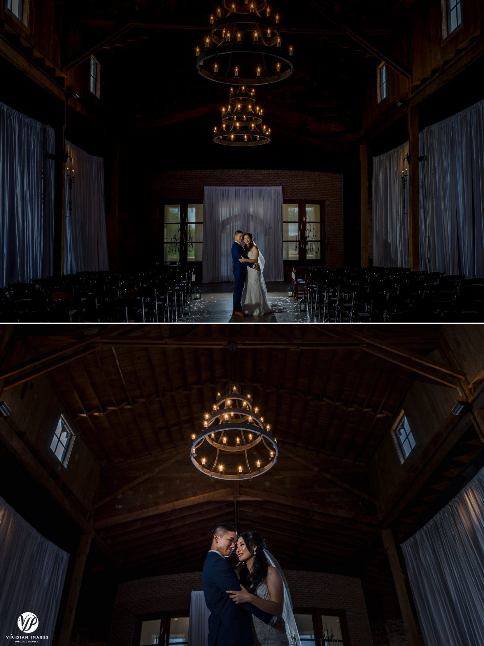 backlit portraits inside wedding venue