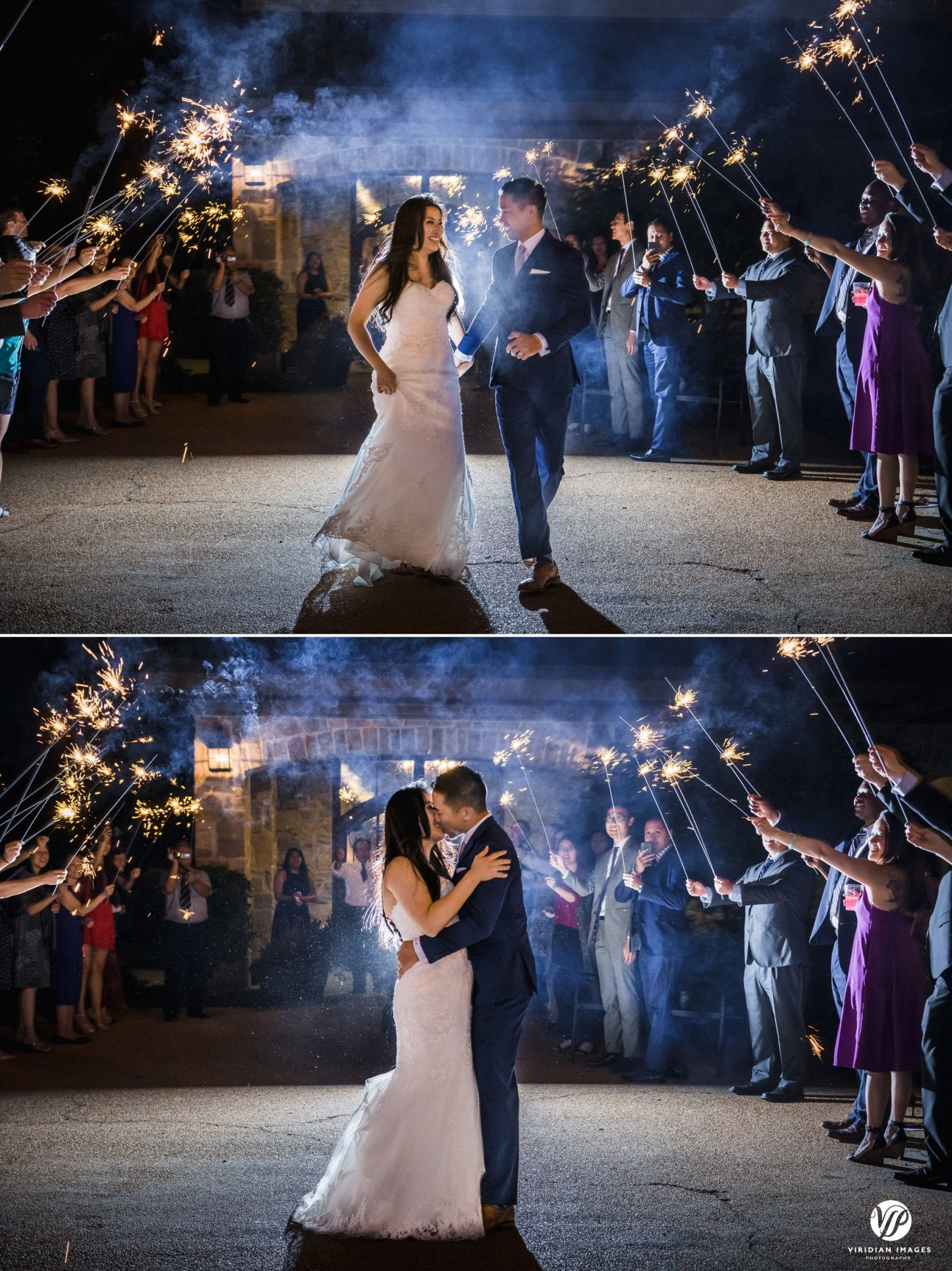 couple send off with sparkler, final kiss