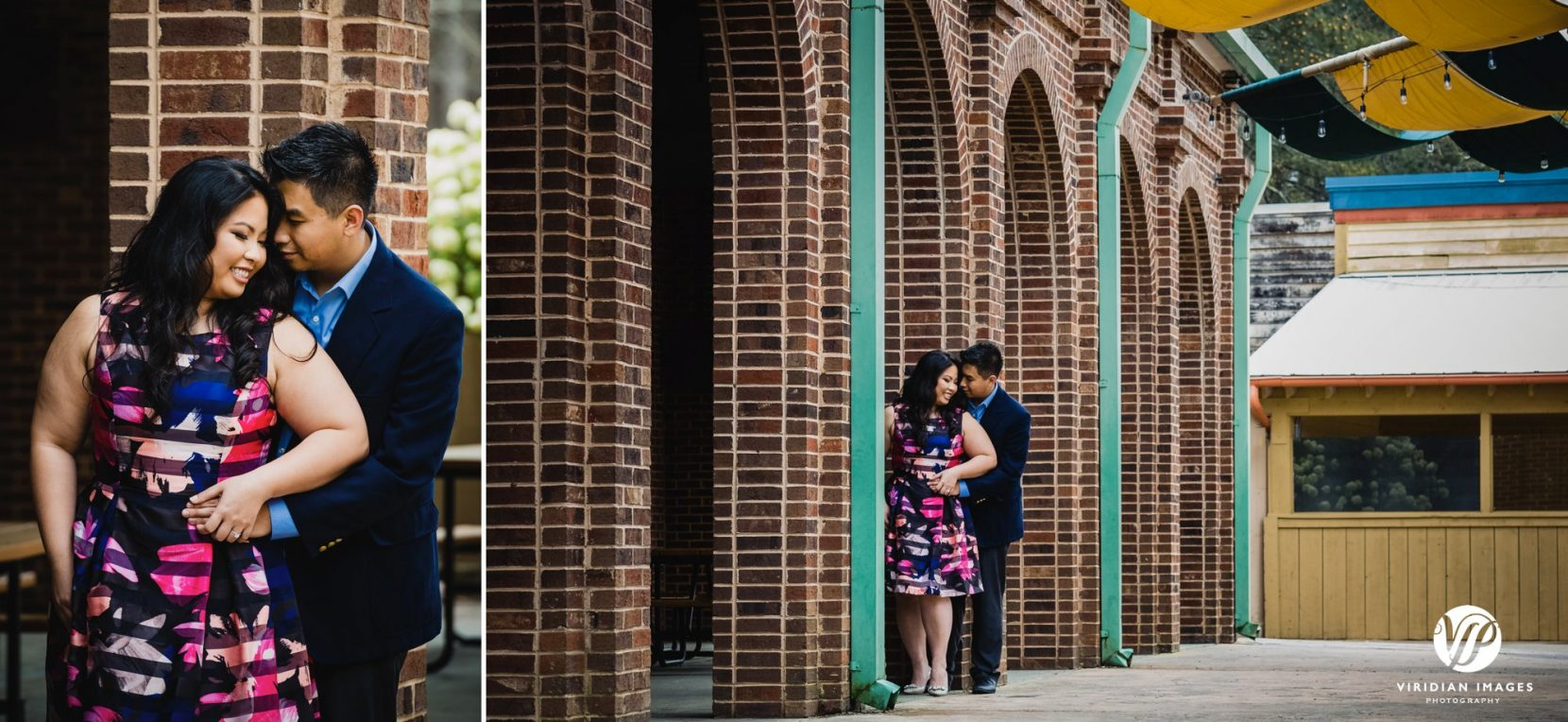 couple hugging brick arches smiling in atlanta stone mountain park engagement photo