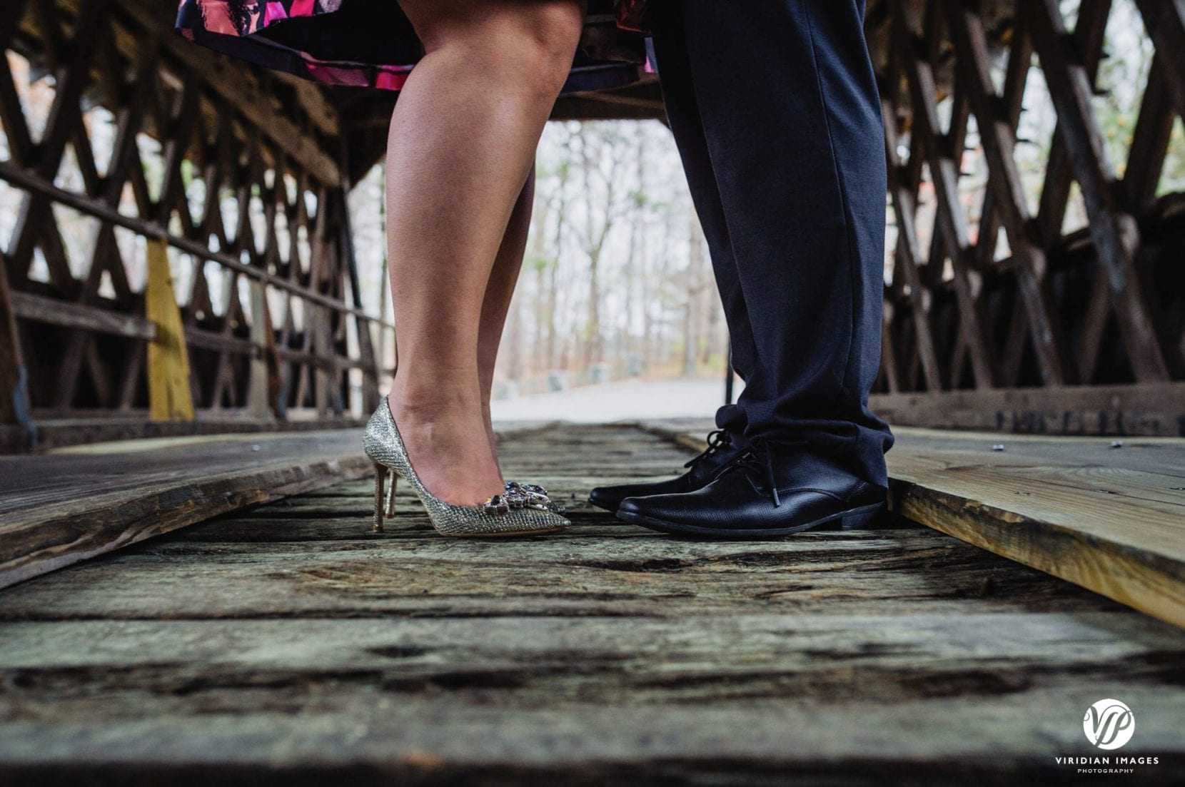 shoe closeup on covered bridge in stone mountain park atlanta engagement photo
