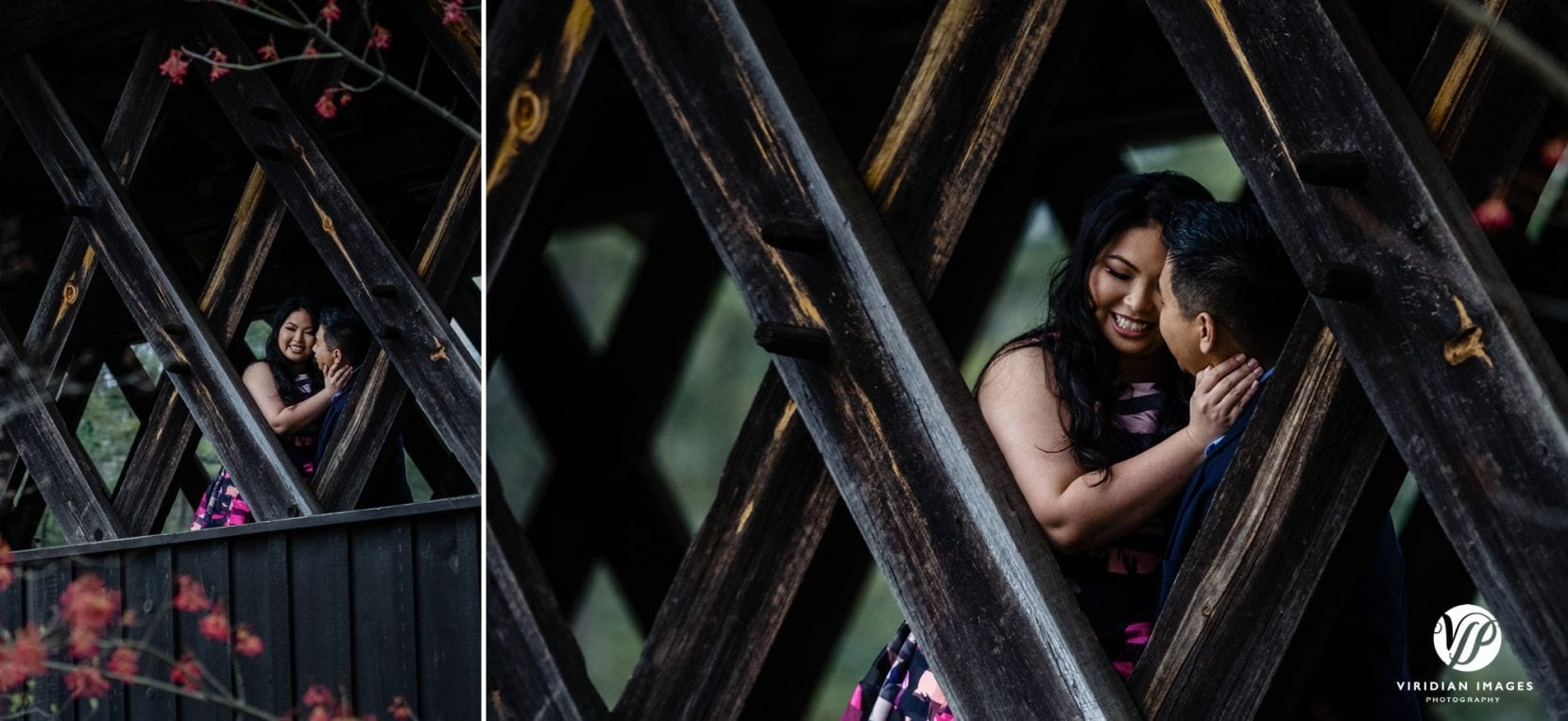 romantic couple through covered bridge in stone mountain park engagement photo